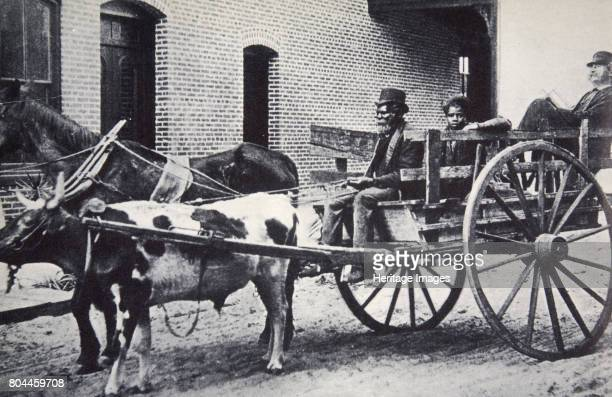 Mark Twain American author in the back of a horse and ox drawn cart c1900 Mark Twain was the pen name of Samuel Langhorne Clemens His bestknown works...