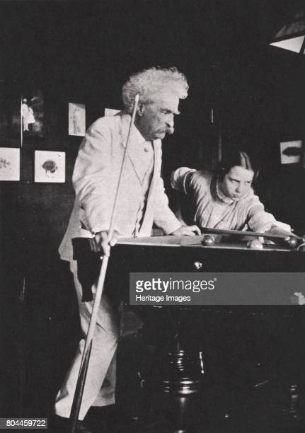 Mark Twain American author playing pool c1900s Mark Twain was the pen name of Samuel Langhorne Clemens His bestknown works are The Adventures of...