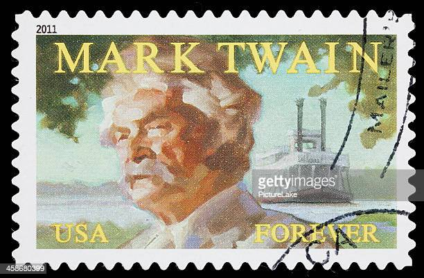 usa mark twain postage stamp - mark twain stock photos and pictures