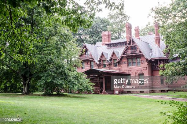 mark twain's house in hartford during summer day - mark twain stock photos and pictures