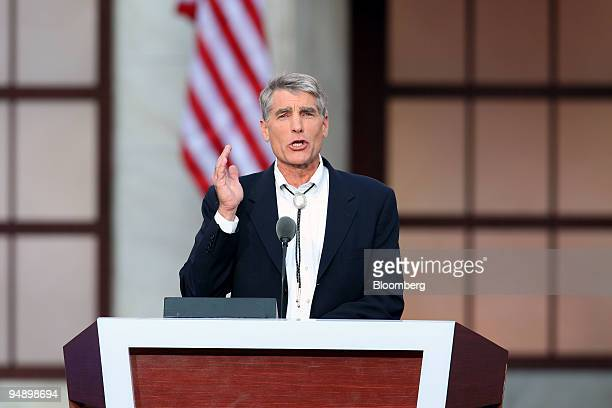 Mark Udall, a Democratic representative from Colorado, speaks on day four of the Democratic National Convention at Invesco Field at Mile High in...