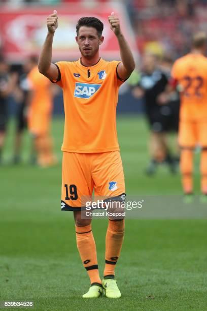 Mark Uth of Hoffenheim celebrates after the Bundesliga match between Bayer 04 Leverkusen and TSG 1899 Hoffenheim at BayArena on August 26 2017 in...
