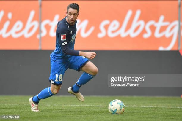 Mark Uth of Hoffenheim plays the ball during the Bundesliga match between FC Augsburg and TSG 1899 Hoffenheim at WWKArena on March 3 2018 in Augsburg...