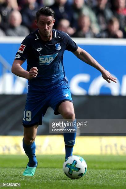 Mark Uth of Hoffenheim runs with the ball during the Bundesliga match between TSG 1899 Hoffenheim and 1 FC Koeln at Wirsol RheinNeckarArena on March...