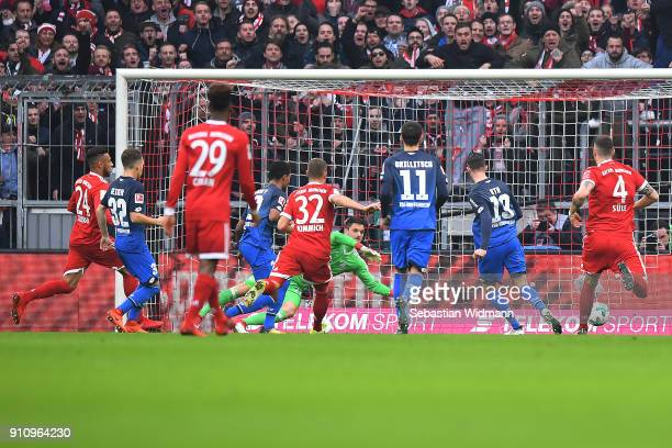 Mark Uth of Hoffenheim scores a goal to make it 01 after Serge Gnabry of Hoffenheim first missed a penalty during the Bundesliga match between FC...