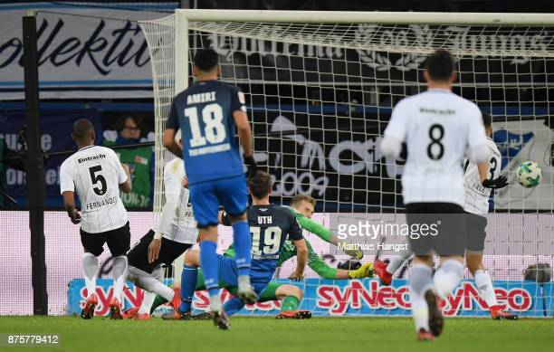 Mark Uth of Hoffenheim scores his team's first goal during the Bundesliga match between TSG 1899 Hoffenheim and Eintracht Frankfurt at Wirsol...