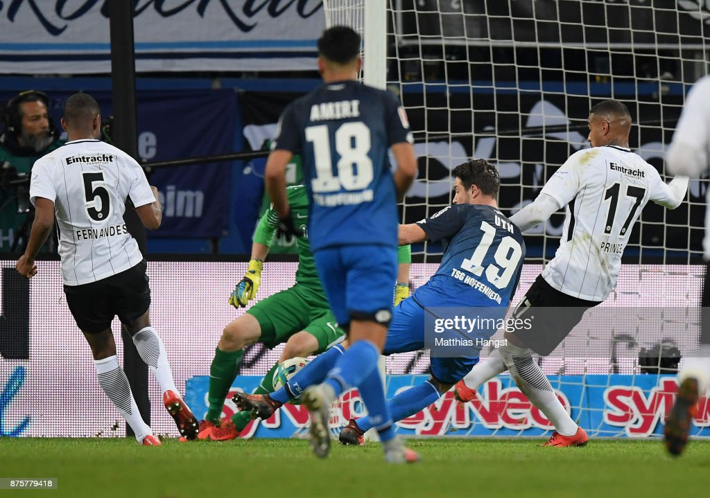 Mark Uth of Hoffenheim scores his team's first goal during the Bundesliga match between TSG 1899 Hoffenheim and Eintracht Frankfurt at Wirsol Rhein-Neckar-Arena on November 18, 2017 in Sinsheim, Germany.