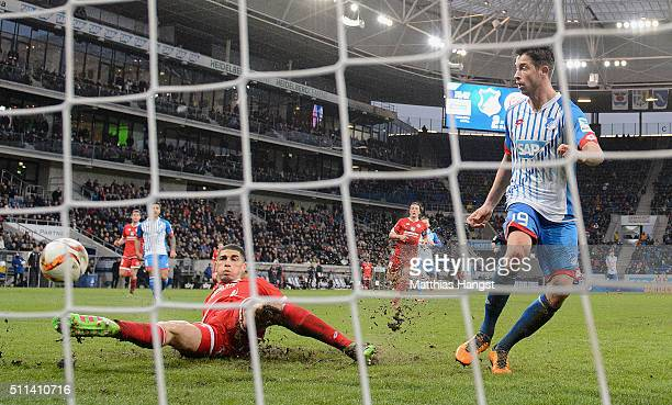 Mark Uth of Hoffenheim scores his team's third goal during the Bundesliga match between 1899 Hoffenheim and 1 FSV Mainz 05 at Wirsol RheinNeckarArena...