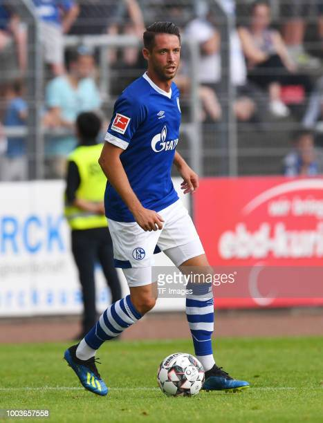 Mark Uth of Schalke controls the ball during the Friendly match between Schwarz Weiss Essen and FC Schalke 04 on July 21 2018 in Essen Germany