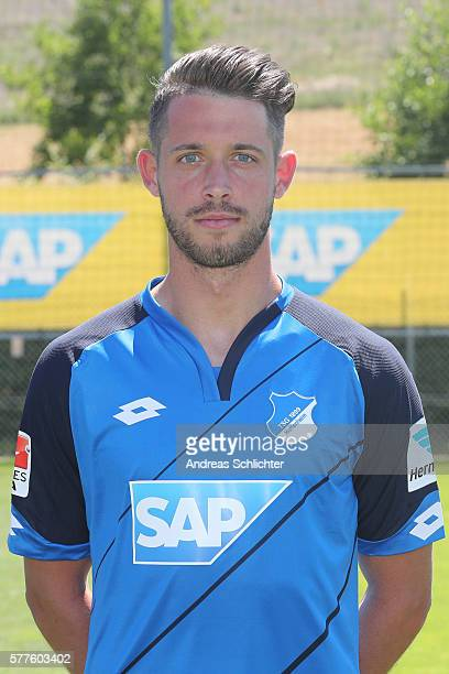 Mark Uth poses during the offical team presentation of TSG 1899 Hoffenheim on July 19 2016 in Sinsheim Germany