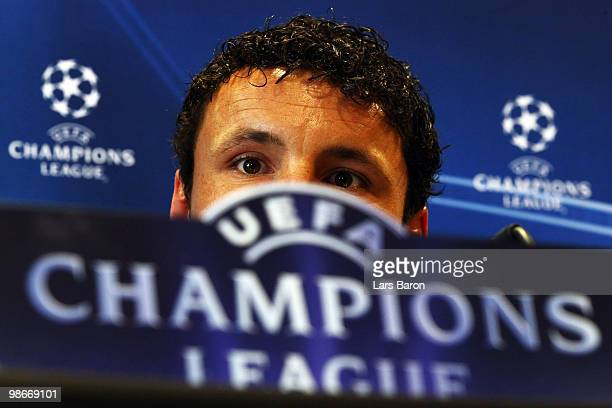 Mark van Bommel looks on during a Bayern Muenchen press conference on April 26 2010 in Lyon France Muenchen will play against Olympic Lyon at the...