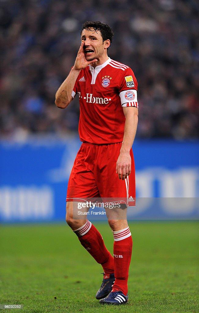 Mark Van Bommel of Bayern during the Bundesliga match between FC Schalke 04 and FC Bayern Muenchen at the Veltins Arena on April 3, 2010 in Gelsenkirchen, Germany.