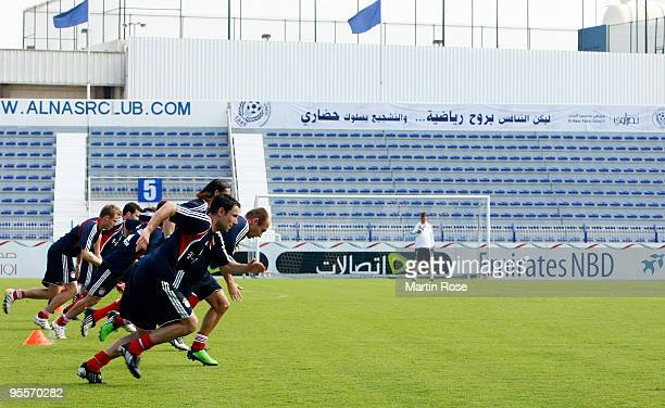 Mark van Bommel of Bayern Muenchen runs during the FC Bayern Muenchen training session at the Al Nasr training ground on January 4 2010 in Dubai...
