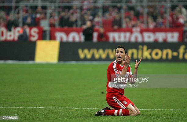Mark van Bommel of Bayern reacts after a foul during the Bundesliga match between Bayern Munich and Hamburger SV at the Allianz Arena on February 24,...