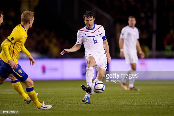 Mark van Bommel of Holland during the EURO 2012 Qualifying match between Sweden and Netherlands at the Rasunda stadium on October 11, 2011 in Solna,...