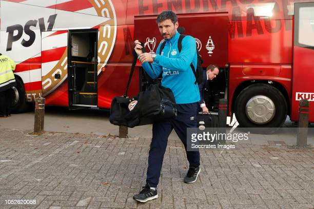 Mark van Bommel of PSV arrives with the players bus during the Dutch Eredivisie match between PSV v FC Emmen at the Philips Stadium on October 20...