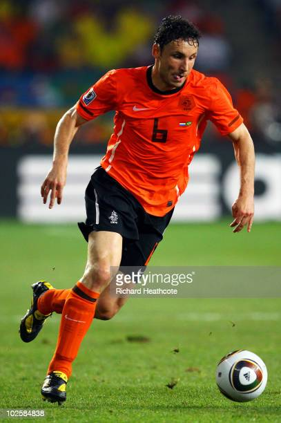 Mark Van Bommel of the Netherlands in action during the 2010 FIFA World Cup South Africa Quarter Final match between Netherlands and Brazil at Nelson...