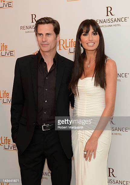 Mark Vanderloo and Elisabetta Gregoraci attend a photocall for the new 'Renaissance Barcelona Hotel' on April 26 2012 in Barcelona Spain