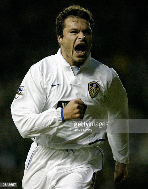 Mark Viduka of Leeds celebrates scoring during the FA Cup Third round match between Leeds United and Arsenal at Elland Road, Leeds on January 4, 2004...