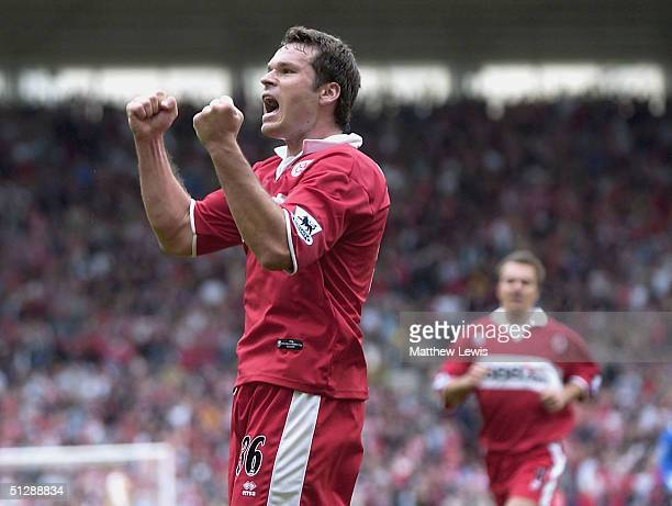 Mark Viduka of Middlesbrough celebrates his goal during the Barclays Premiership match between Middlesbrough and Birmingham City at The Riverside...