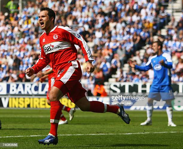 Mark Viduka of Middlesbrough celebrates his goal during the Barclays Premiership match between Wigan Athletic and Middlesbrough at the JJB Stadium on...