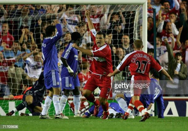 Mark Viduka of Middlesbrough celebrates scoring the winning goal during the Barclays Premiership match between Middlesbrough and Chelsea at the...