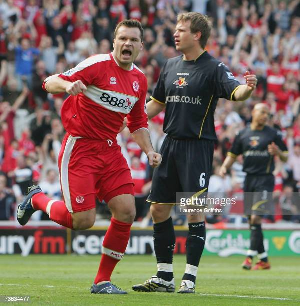 Mark Viduka of Middlesbrough celebrates the opening goal during the Barclays Premiership match between Middlesbrough and Watford at The Riverside...
