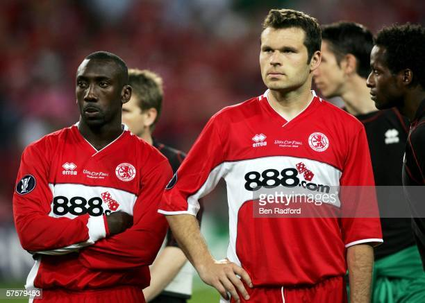 Mark Viduka of Middlesbrough FC and his team mate Jimmy Floyd Hasselbaink react after they lost the UEFA Cup final against Sevilla FC on May 10, 2006...