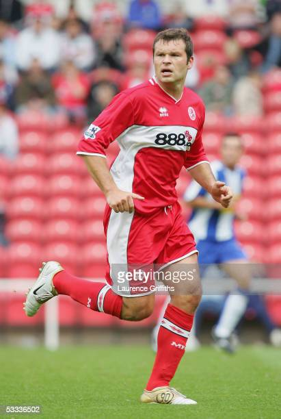 Mark Viduka of Middlesbrough in action during the Pre Season Friendly match between Middlesbrough and RCD Espanyol at The Riverside Stadium on August...
