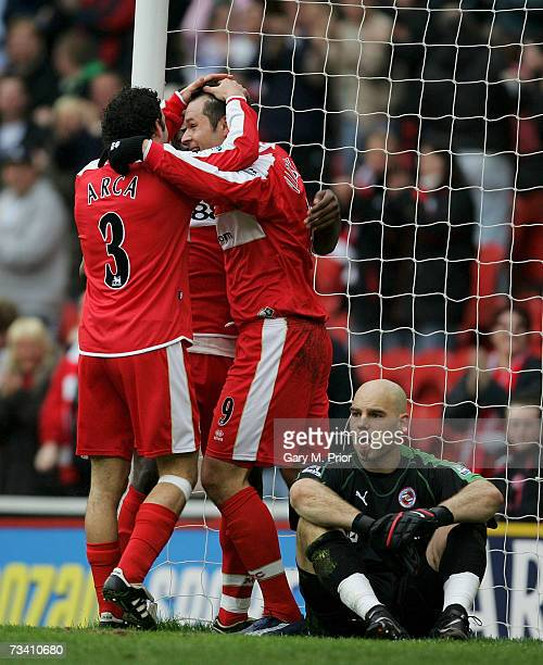 Mark Viduka of Middlesbrough is congratulated by his team mates after scoring during the Barclays Premiership match between Middlesbrough and Reading...