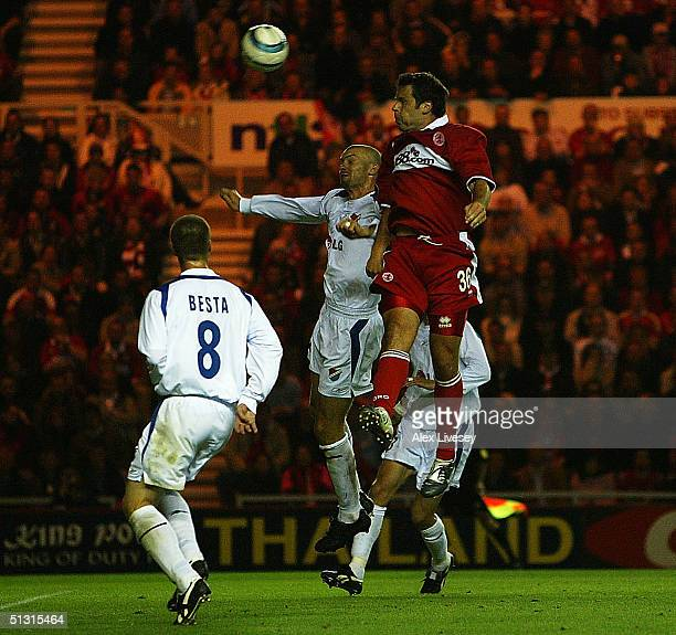 Mark Viduka of Middlesbrough scores the third goal during the UEFA Cup first round, first leg match between Middlesbrough and Banik Ostrava at the...