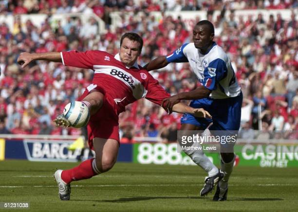 Mark Viduka of Middlesbrough shoots wide of the goal during the FA Barclays Premiership match between Middlesbrough and Crystal Palace at The...