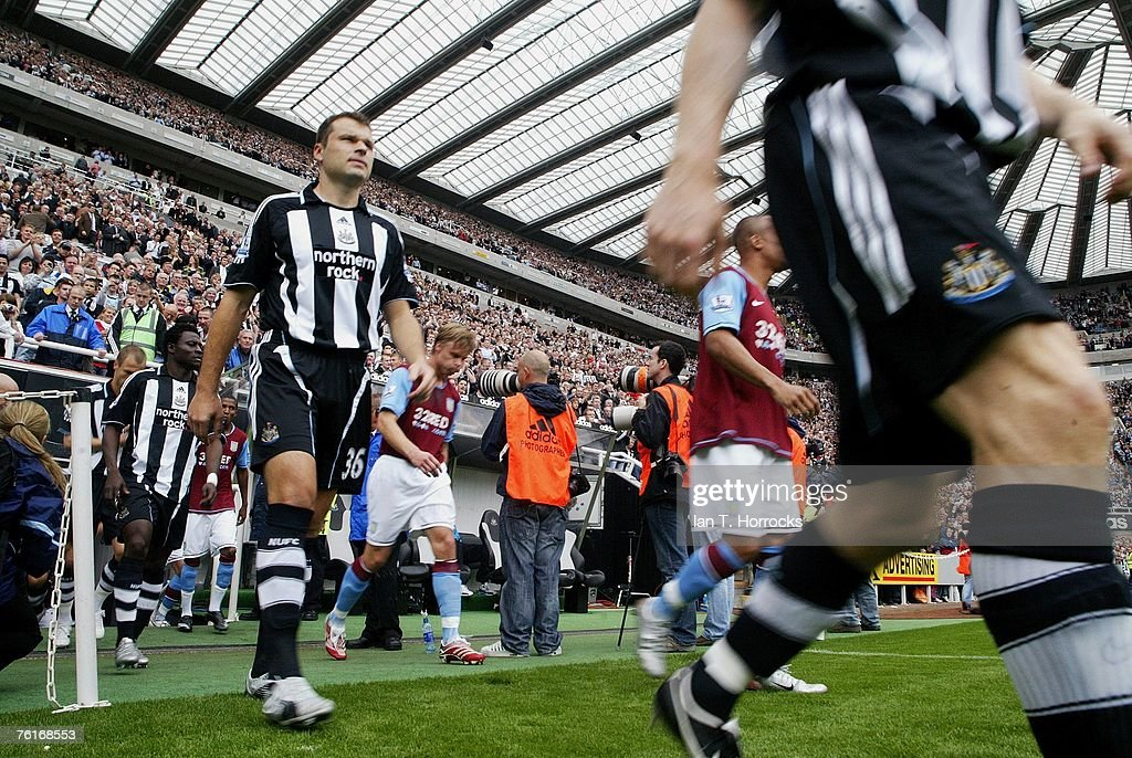 Mark Viduka of Newcastle walks onto the pitch during a Premier League game between Newcastle United and Aston Villa at St James' Park , Newcastle on August 18, 2007 in Newcastle, England.