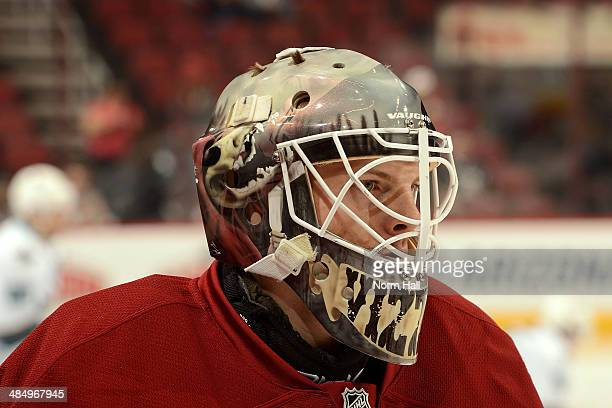 Mark Visentin of the Phoenix Coyotes warms up during pregame against the San Jose Sharks at Jobingcom Arena on April 12 2014 in Glendale Arizona It...