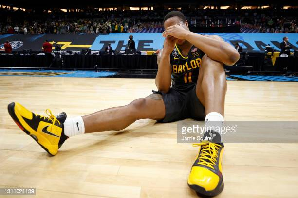 Mark Vital of the Baylor Bears celebrates on the court after defeating the Gonzaga Bulldogs 86-70 in the National Championship game of the 2021 NCAA...