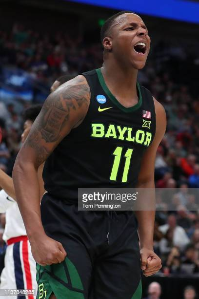 Mark Vital of the Baylor Bears reacts to a play against the Gonzaga Bulldogs during their game in the Second Round of the NCAA Basketball Tournament...