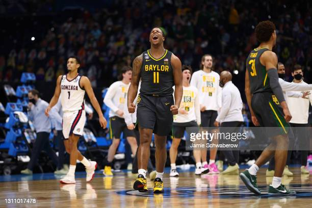 Mark Vital of the Baylor Bears reacts to play during the game against the Gonzaga Bulldogs in the National Championship game of the 2021 NCAA Men's...