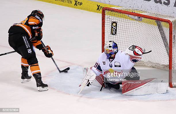 Mark Voakes of Wolfsburg scores his teams third goal during the DEL playoffs final game four between Grizzlys Wolfsburg and Red Bull Muenchen at Eis...