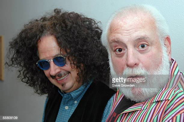Mark Volman and Howard Kaylan of the 1960's poprock group The Turtles pose backstage at Route 66 Casino Legends Theater on July 30 2005 in...