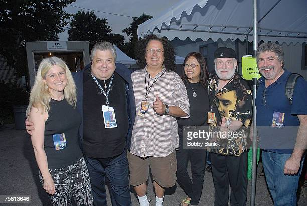 Mark Volman and Howard Kaylan of The Turtles with Sandy Hicks Jerry Russo May Pang and Mike McCann at Hippiefest 2007 at Asser Levy Park Brooklyn New...