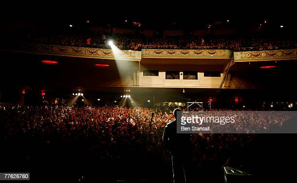 Mark Waddington Chief Executive Officer of 'War Child' speaks to the crowd during the 'War Child Concert' at Brixton Academy on November 1, 2007 in...
