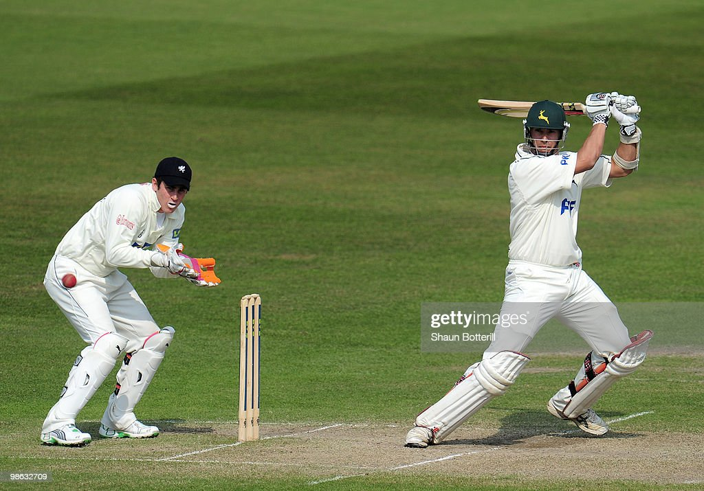 Mark Wagh of Nottinghamshire plays as shot as Craig Kieswetter the somerset wicketkeeper looks on during the LV County Championship match between Nottinghamshire and Somerset at Trent Bridge on April 23, 2010 in Nottingham, England.
