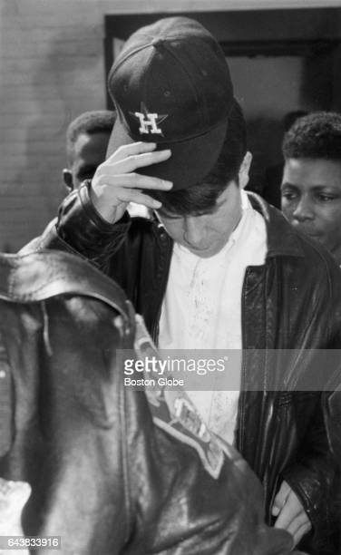 Mark Wahlberg a rap artist known as Marky Mark leaves Dorchester District Court in Boston on Apr 5 1993 following the dismissal of assault and...