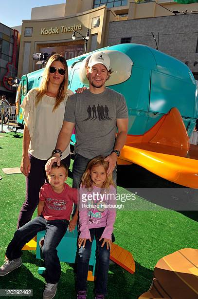 Mark Wahlberg and family outside the world-famous Perry the Platy-bus, a 4000 pound customized Airstream trailer in the likeness of the character...
