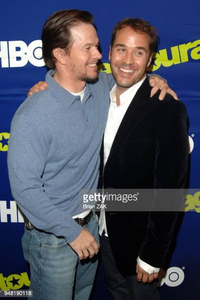 Mark Wahlberg and Jeremy Piven arrive at the New York Premiere of the 3rd Season of Entourage held at the Skirball Center for the Performing Arts at...