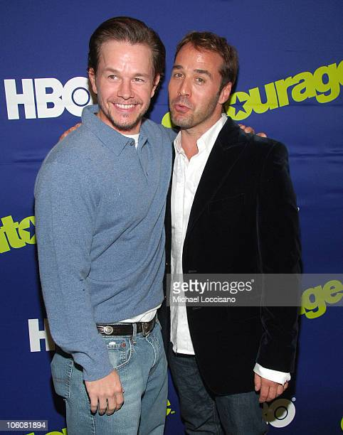 Mark Wahlberg and Jeremy Piven during Entourage Season Three New York Premiere Arrivals at Skirball Center for the Performing Arts at NYU in New York...