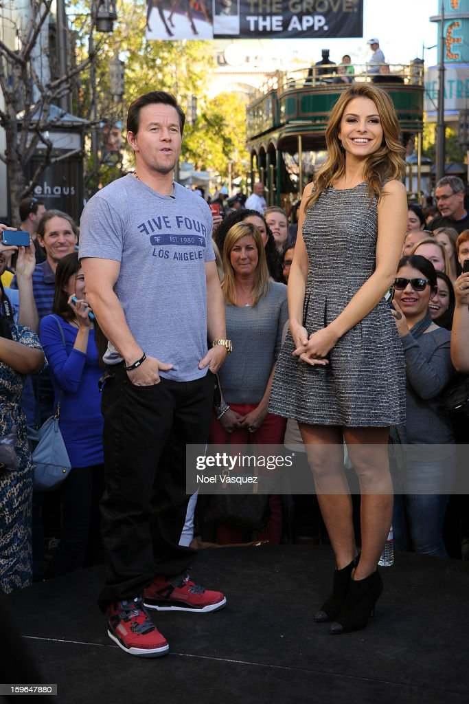 Mark Wahlberg (L) and Maria Menounos visit Extra at The Grove on January 17, 2013 in Los Angeles, California.