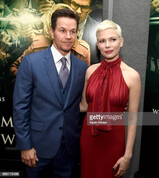 Mark Wahlberg and Michelle Williams attend the premiere of Sony Pictures Entertainment's 'All The Money In The World' at Samuel Goldwyn Theater on...