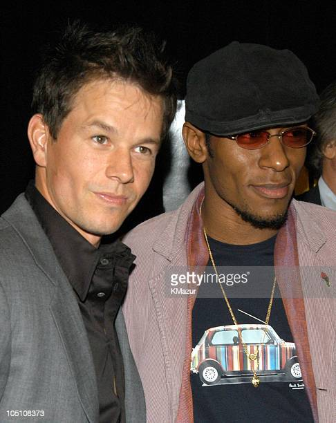 """Mark Wahlberg and Mos Def during 2003 Tribeca Film Festival - """"The Italian Job"""" Premiere at Tribeca Performing Arts Center in New York City, New..."""