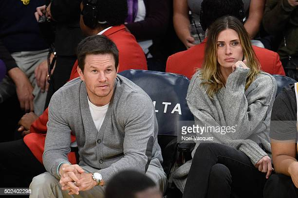 Mark Wahlberg and Rhea Durham attend a basketball game between the Oklahoma City Thunder and the Los Angeles Lakers at Staples Center on December 23...